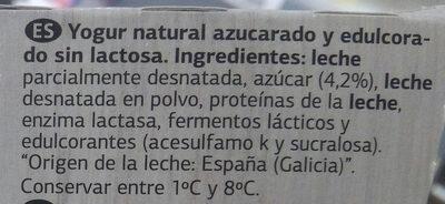 Yogur sin lactosa azucarado natural - Ingredientes - es