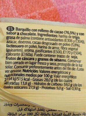 Wafer relleno de cacao - Información nutricional