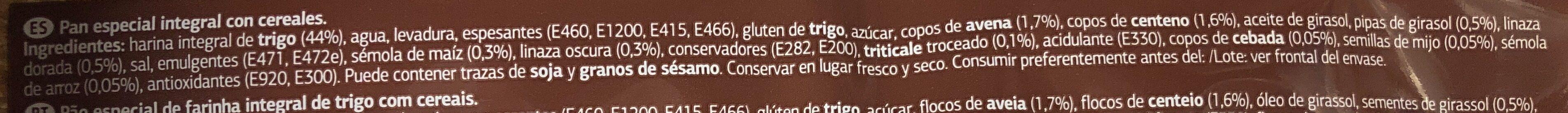 Pan Especial Con Cereales - Ingredients - es
