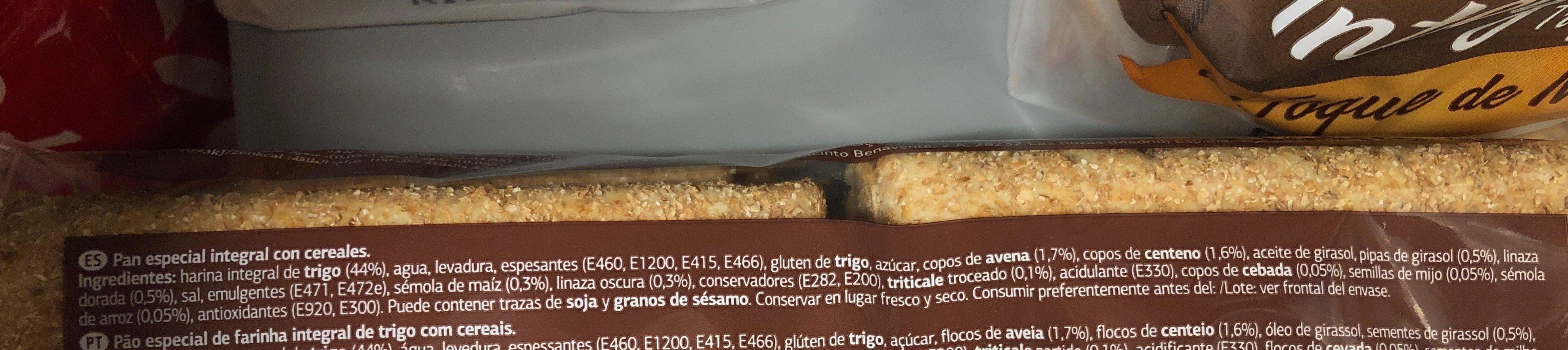 Pan Especial Con Cereales - Ingredientes
