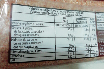 Pan Especial Con Cereales - Información nutricional