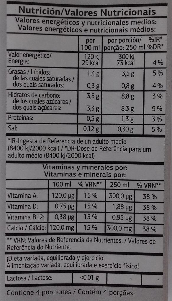 Bebida de almendras - Información nutricional - es