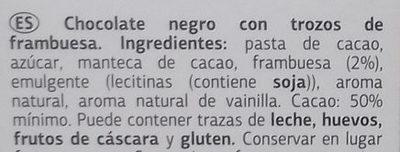 Chocolate Negro Frambuesa - Inhaltsstoffe - es