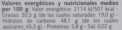 Chocolate Negro Frambuesa - Nährwertangaben - es