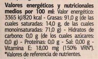 Aceite de Oliva Virgen Extra Variedad Arbequina - Informations nutritionnelles - es