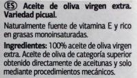 ACEITE DE OLIVA VIRGEN EXTRA-PICUAL - Ingredients - es