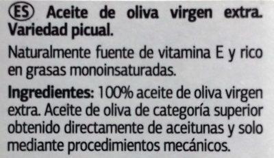 ACEITE DE OLIVA VIRGEN EXTRA-PICUAL - Ingredients