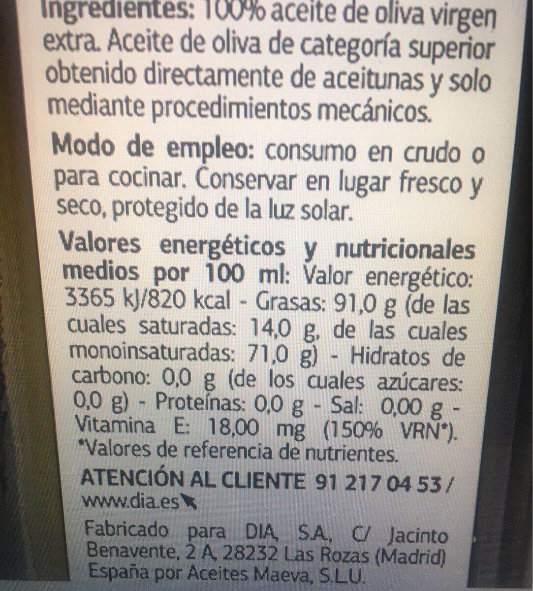 ACEITE DE OLIVA VIRGEN EXTRA-PICUAL - Informació nutricional - es