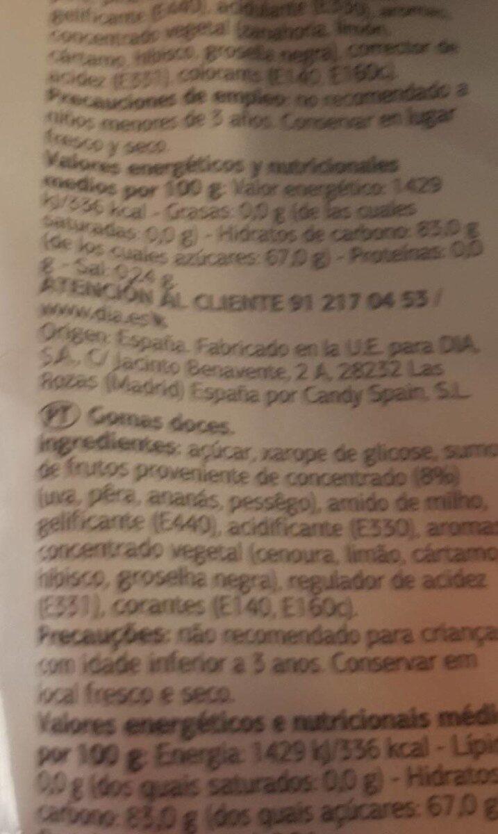 Delicias fruta - Voedigswaarden