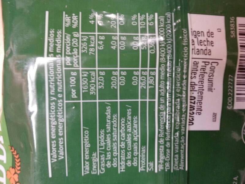 Queso cheddar - Informació nutricional