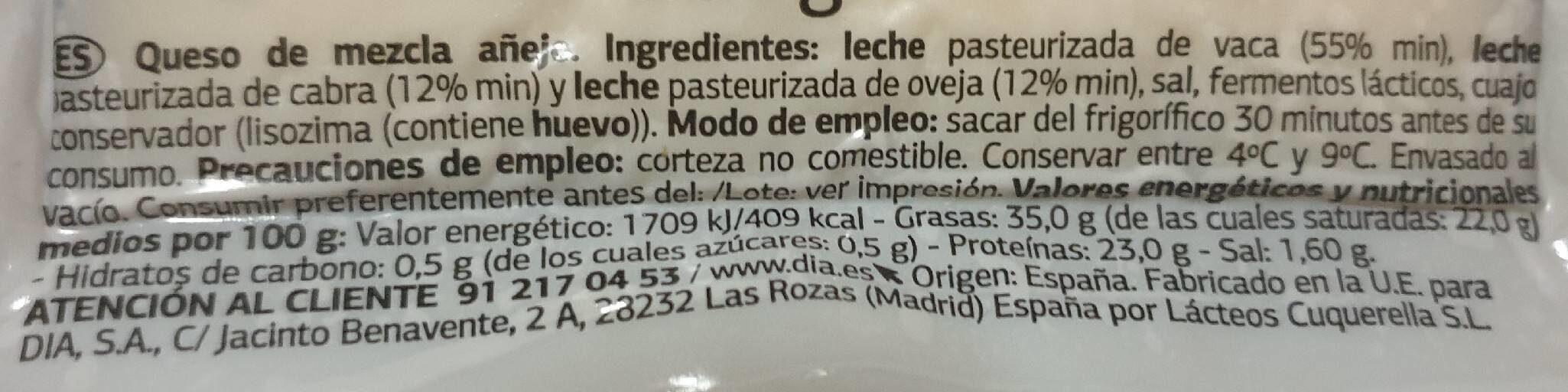 Queso añejo delicius - Ingredients