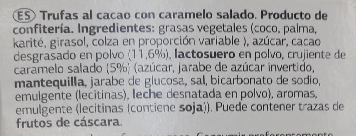Trufas caramelo sal - Ingredients