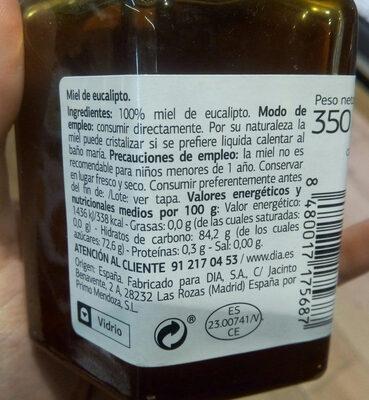 Delicious - Miel de eucalipto - Información nutricional - es