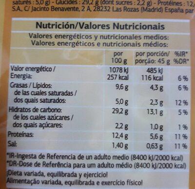 Pizza 5 quesos - Informació nutricional