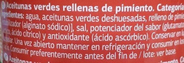 Aceituna rellena de pimiento - Ingredients - es