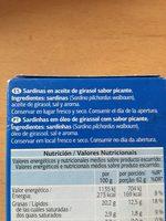 Sardinas en aceite picante - Ingredients