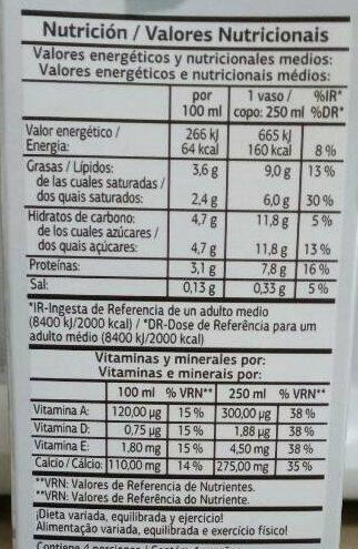 Leche UHT Entera Sin Lactosa - Información nutricional