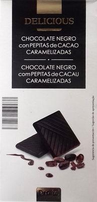 Chocolate negro con pepitas de cacao caramelizadas