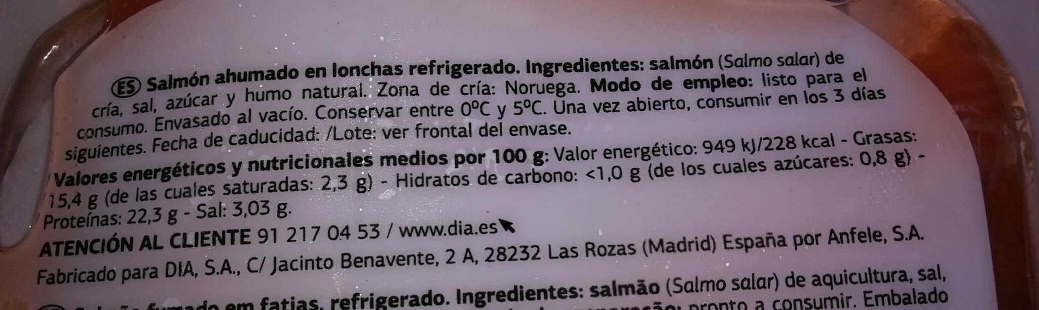 Delicious - Salmón ahumado Noruego - Informació nutricional - es