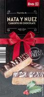 Turrón de nata y nuez cubierto de chocolate - Product