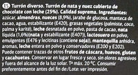 Turrón De Nata Y Nuez Cubierto De Chocolate - Ingredientes - es