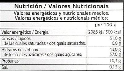 Turrón de nata y nuez cubierto de chocolate - Nutrition facts