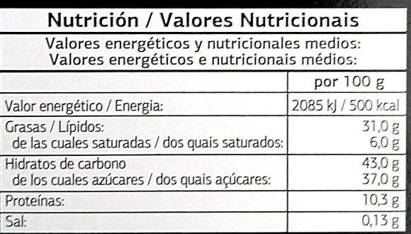 Turrón de nata y nuez cubierto de chocolate - Nutrition facts