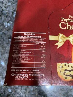 PANETTONE CHOCOLATE - Nutrition facts