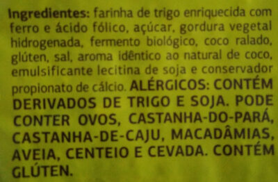 Pão de coco - Ingredientes - pt