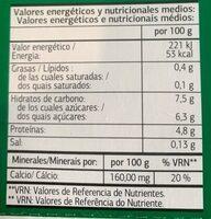 Bifidus con quinoa y semillas de calabaza - Información nutricional