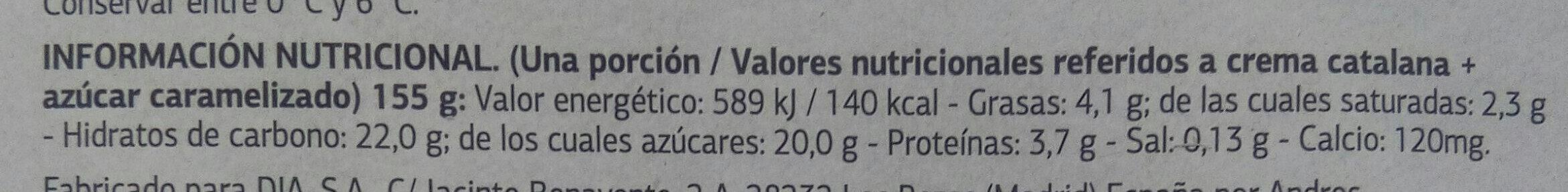 Crema Catalana Delicious - Informació nutricional