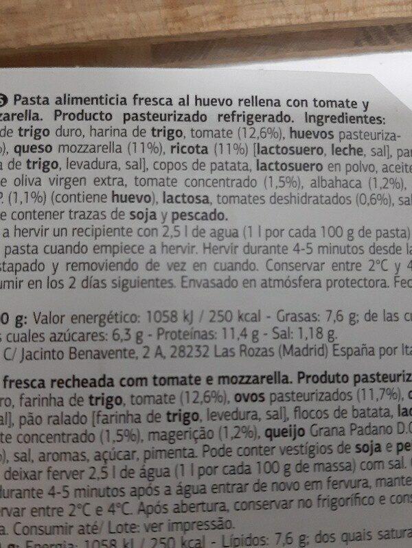 Delicioso Ravioli Pomodoro e Mozarella - Ingrédients - es