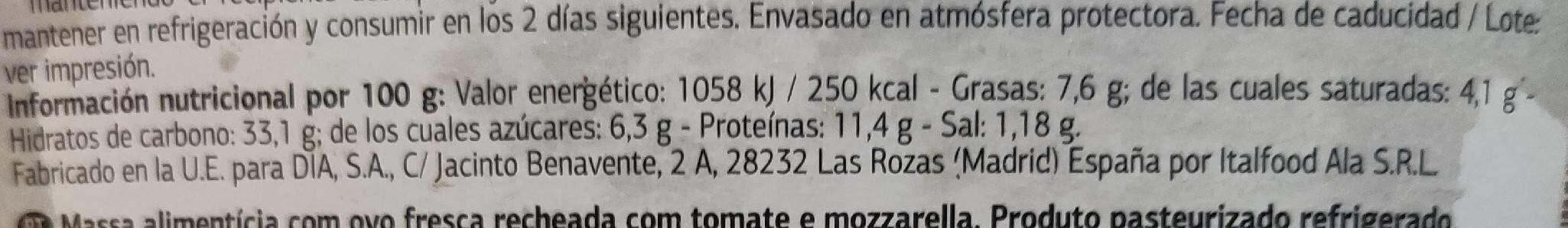 Delicioso Ravioli Pomodoro e Mozarella - Informations nutritionnelles - es