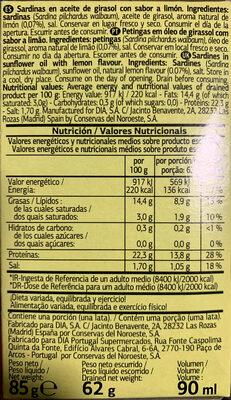 Sardinillas en aceite de girasol al limón - Ingredienti - es