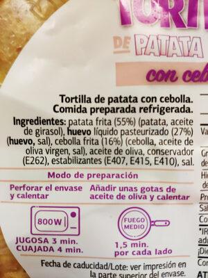 Tortilla con cebolla - Ingredientes - es