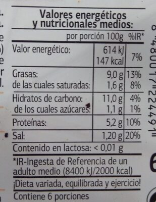 Tortilla con cebolla - Información nutricional - es