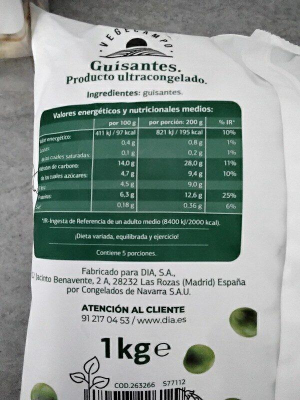Guisantes finos - Ingredienti - es