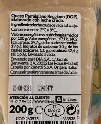 Parmigiano reggiano - Ingredients - es