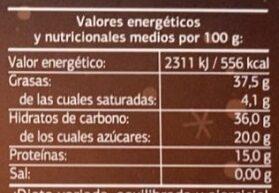 Turron de Jijona - Información nutricional - es