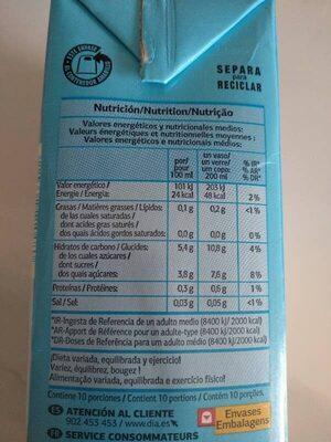 Néctar de naranja light - Información nutricional