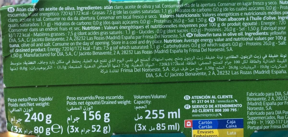 Atún claro oliva - Ingrédients