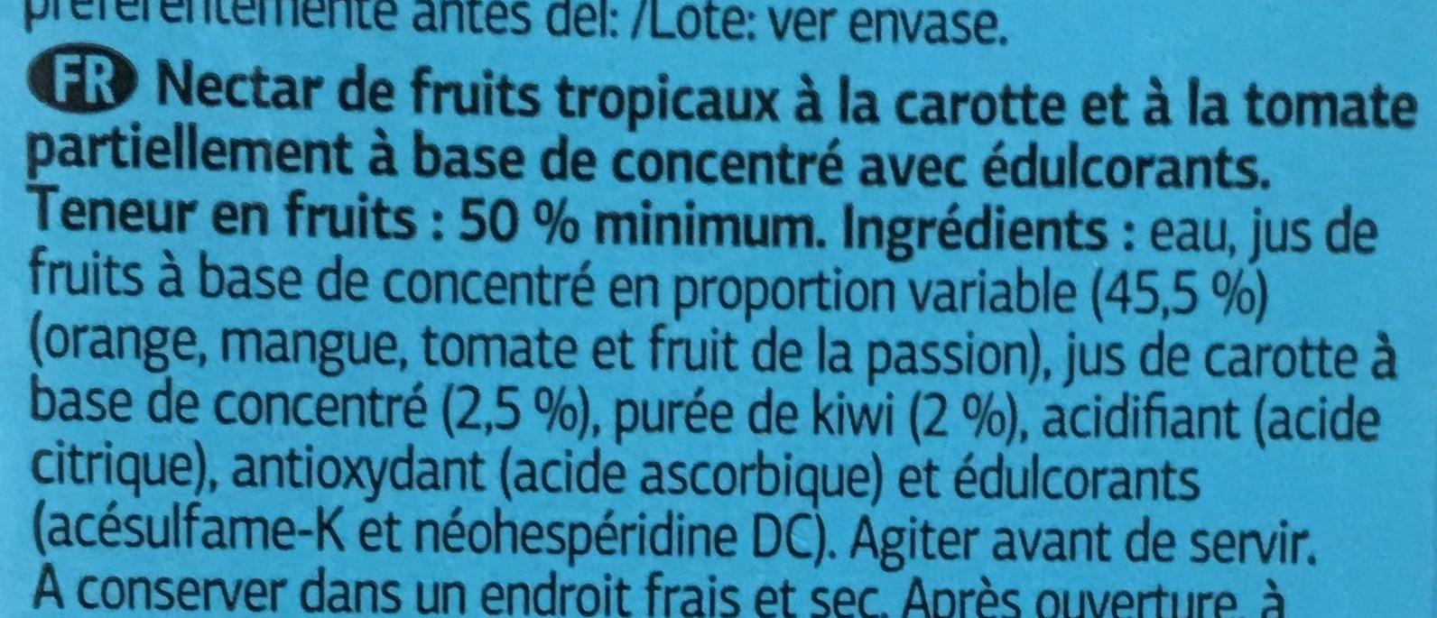 Nectar tropical Carotte et Tomate Light - Ingrediënten
