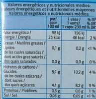 Nectar tropical Carotte et Tomate Light - Voedingswaarden