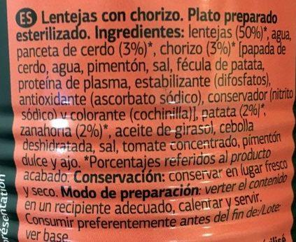 Lentejas con Chorizo - Ingredientes