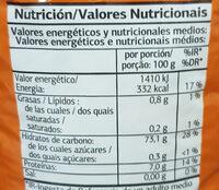 Arroz vaporizado - Información nutricional
