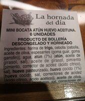 Mini bocata atun - Nutrition facts