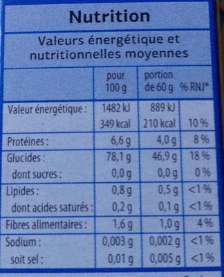 Riz long grain incollable - Informations nutritionnelles - fr