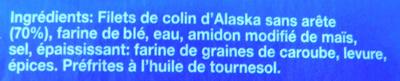 20 Tranches Panées de filet de Colin d'Alaska, Surgelées, Préfrites - Ingrediënten - fr