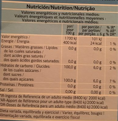 Sucre en poudre - Nutrition facts
