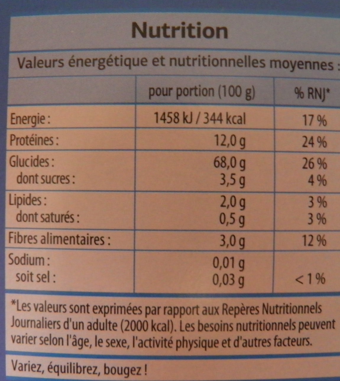 Pipe rigate - Informations nutritionnelles - fr